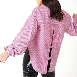 Free People pink striped Tie It In a Bow shirt S